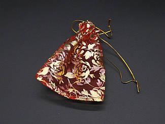 Подарочные мешочки из органзы. Цвет красный. 9х12см