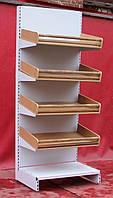 Торговые хлебные стеллажи «Росс» 230х96 см., корзины из натурального дерева, Б/у