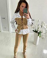 Женский декорированный костюм из эко кожи в расцветках. ЕЛ-18-0120