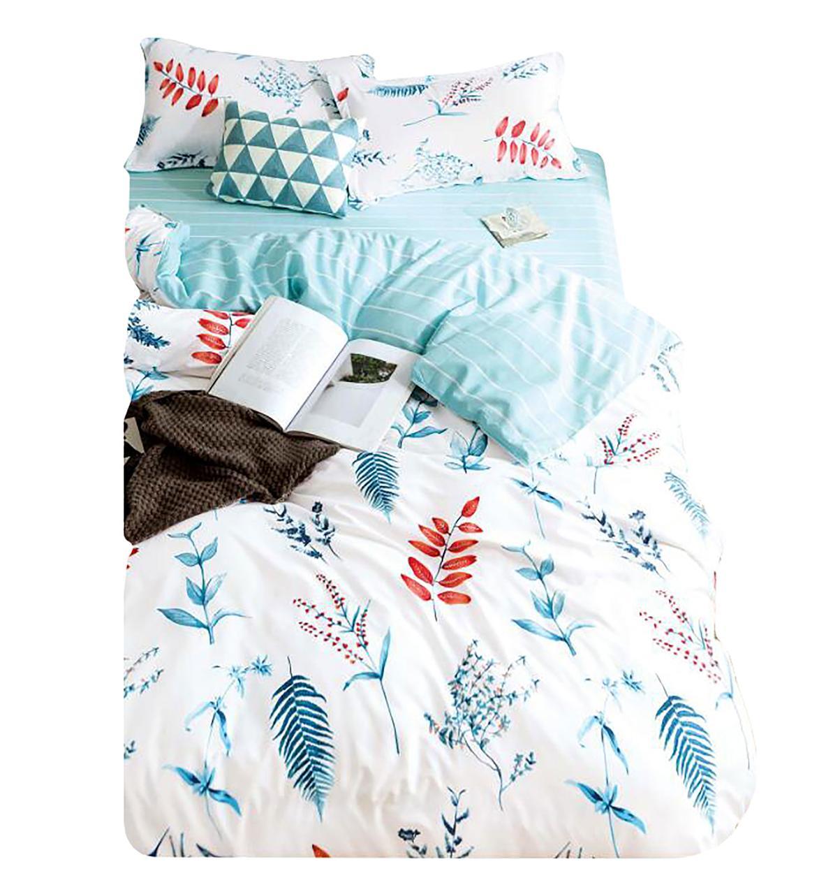 Комплект постельного белья Хлопковый Молодежный 056 M&M 5699 Синий, Белый