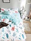 Комплект постельного белья Хлопковый Молодежный 056 M&M 5699 Синий, Белый, фото 2