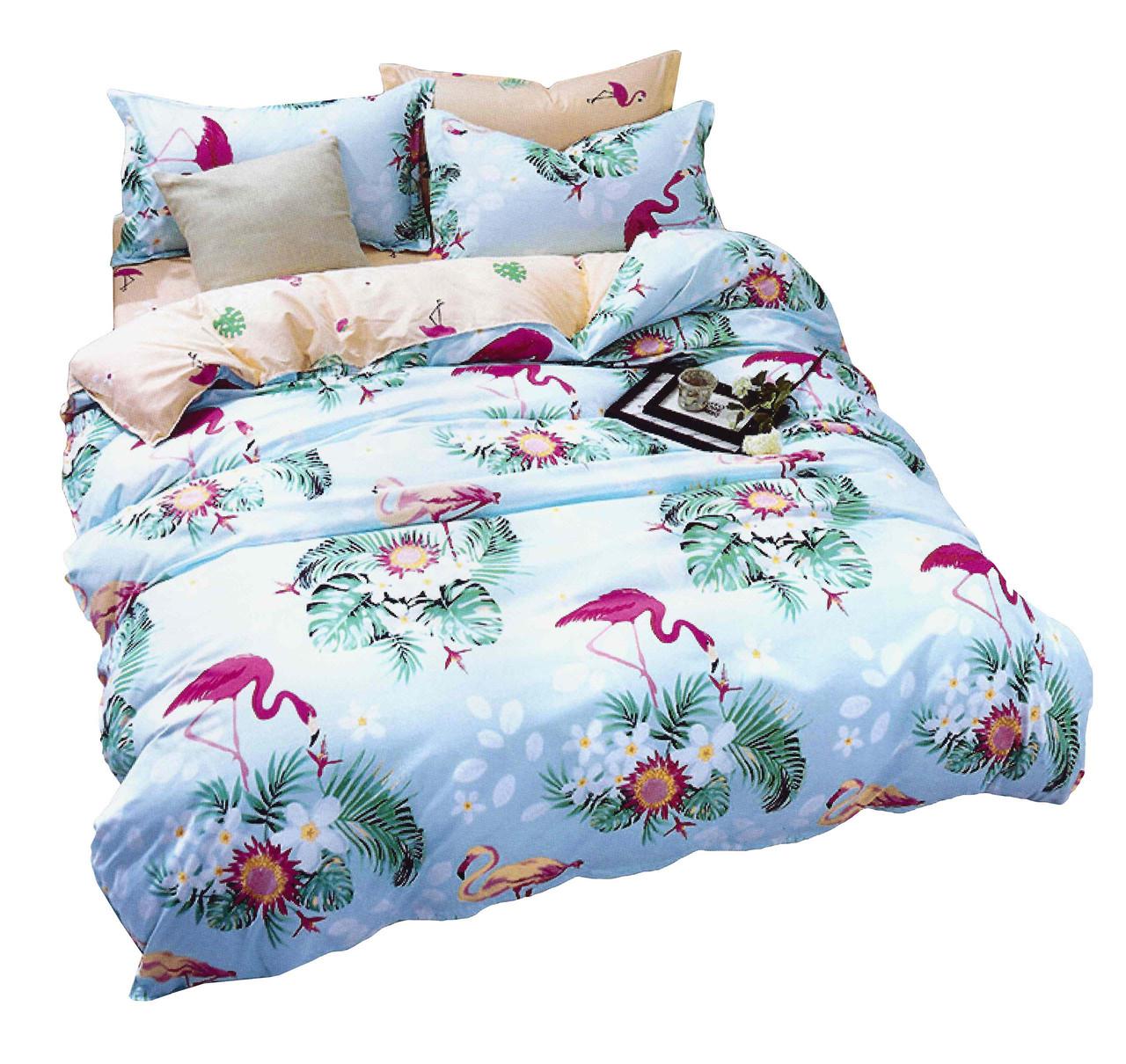 Комплект постельного белья Хлопковый Молодежный 057 M&M 5705 Синий, Зеленый, Розовый