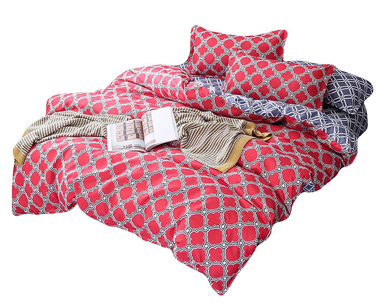 Комплект постельного белья Хлопковый Молодежный 059 M&M 5729 Синий, Красный