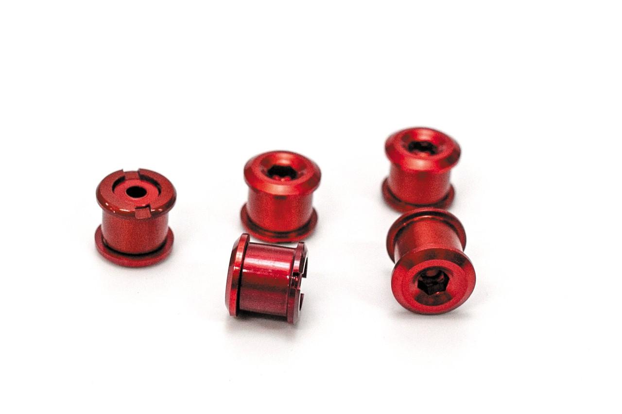 Алюминиевые бонки для шатунов высота 6,5мм Комплект 5 штук Красные (STO-006)