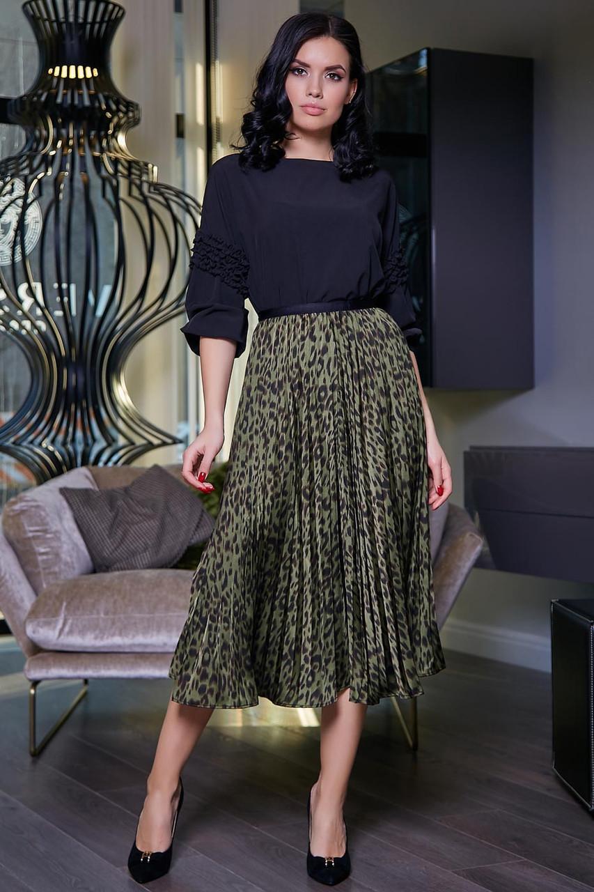Легкая плиссированная юбка на подкладе 1476 (40–46р) в расцветка