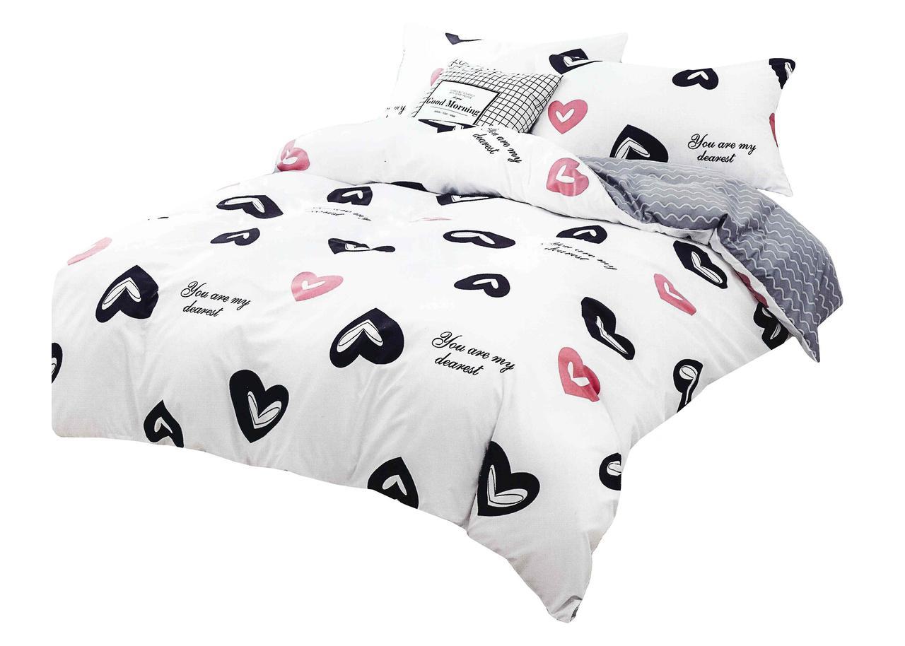 Комплект постельного белья Хлопковый Молодежный 062 M&M 5750 Белый, Черный, Розовый