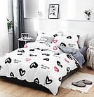 Комплект постельного белья Хлопковый Молодежный 062 M&M 5750 Белый, Черный, Розовый, фото 2