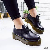 Туфли женские черные кожа натуральная на коричневой подошве 12\9535 37, фото 3