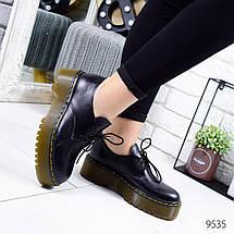 Туфли женские черные кожа натуральная на коричневой подошве 12\9535 37, фото 2