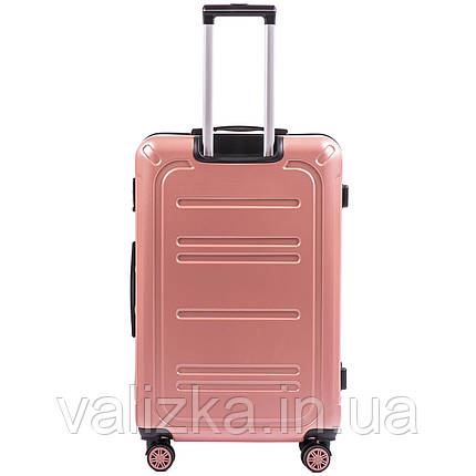 Большой чемодан из поликарбоната премиум серии для ручной клади на 4-х двойных колесах розовый W-175, фото 2
