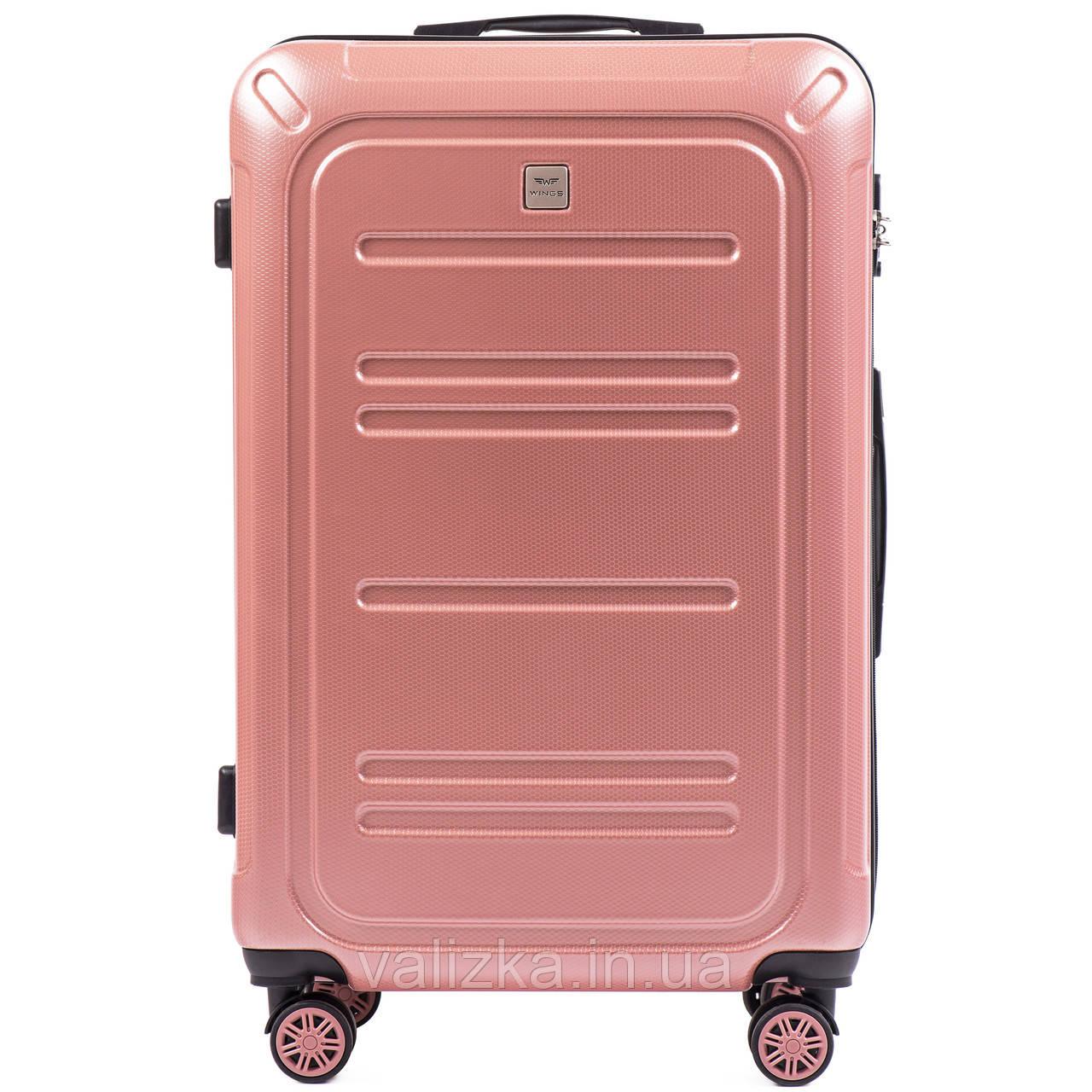 Большой чемодан из поликарбоната премиум серии для ручной клади на 4-х двойных колесах розовый W-175
