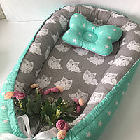 Кокон гнездышко для новорожденных Сладкий Сон с ортопедической подушкой Серый/мятный