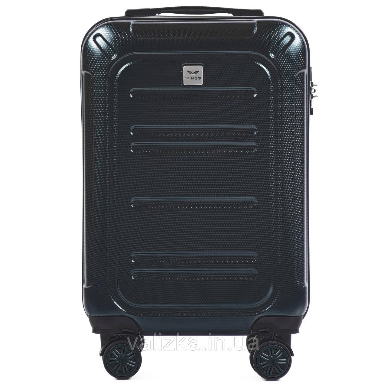 Малый чемодан из поликарбоната премиум серии для ручной клади темно-зеленый Wings 175