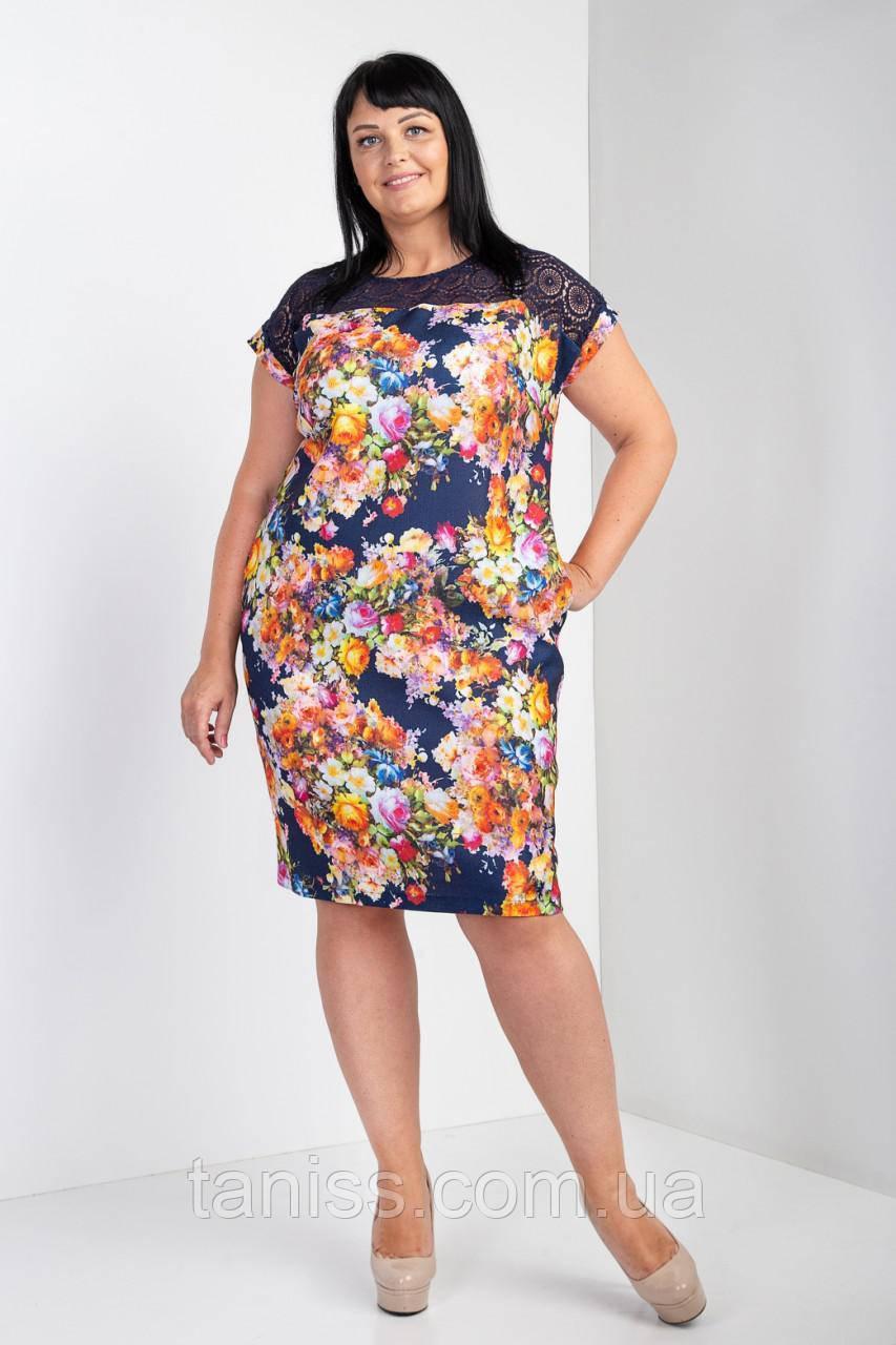 """Женское, нарядное, летнее платье """" Роуз"""", ткань лен, размеры 54,56,58 синие цветы, сукня"""