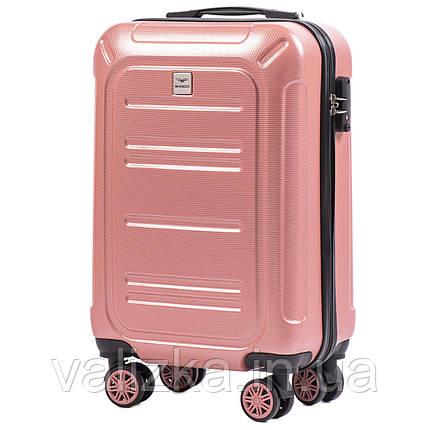 Малый чемодан из поликарбоната премиум серии для ручной клади розовый Wings 175, фото 2