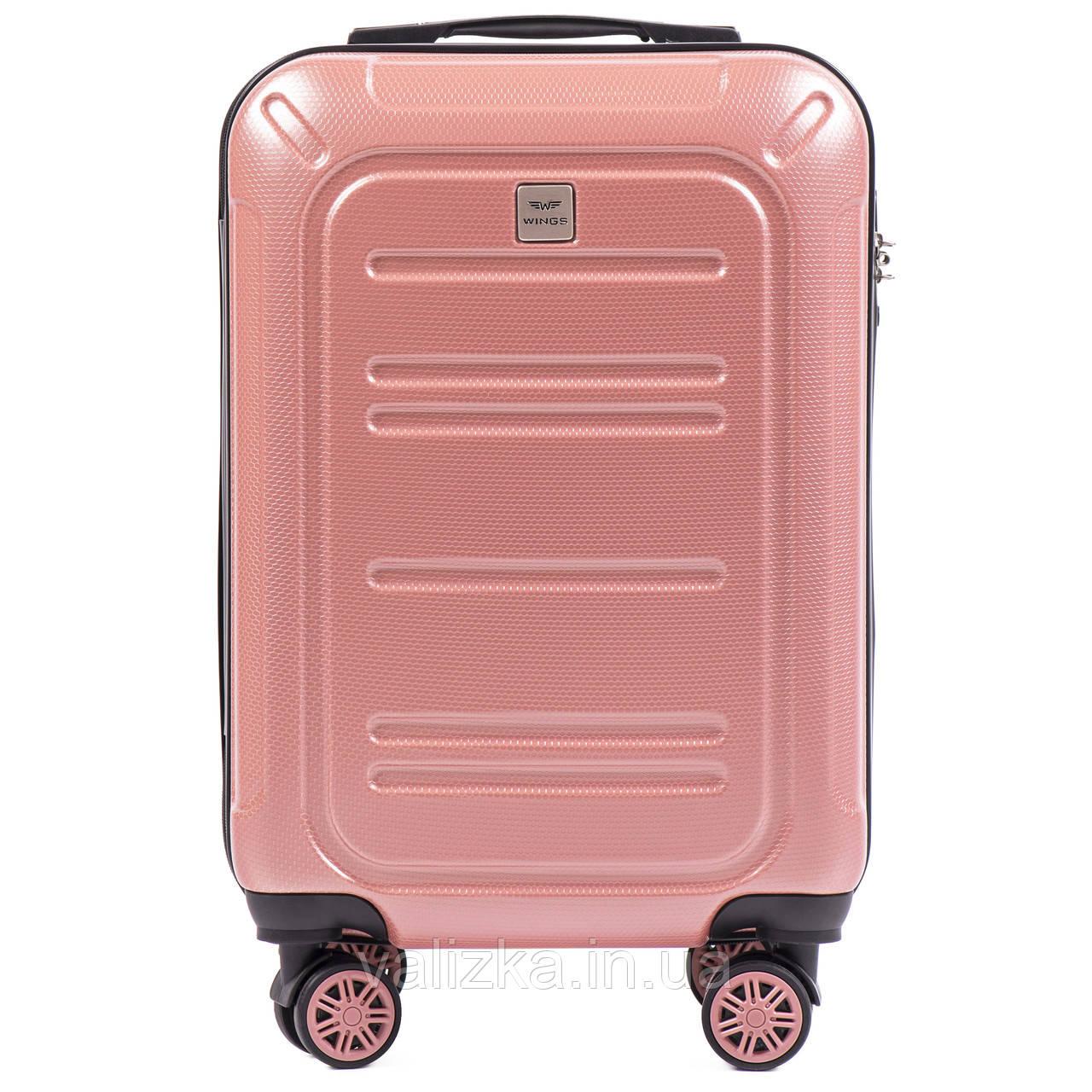 Малый чемодан из поликарбоната премиум серии для ручной клади розовый Wings 175