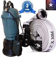 Фекальный насос чугунный корпус с измельчителем Wisla WQD 1,1 + рукав пожарный + трос силикон+ хомут, фото 1