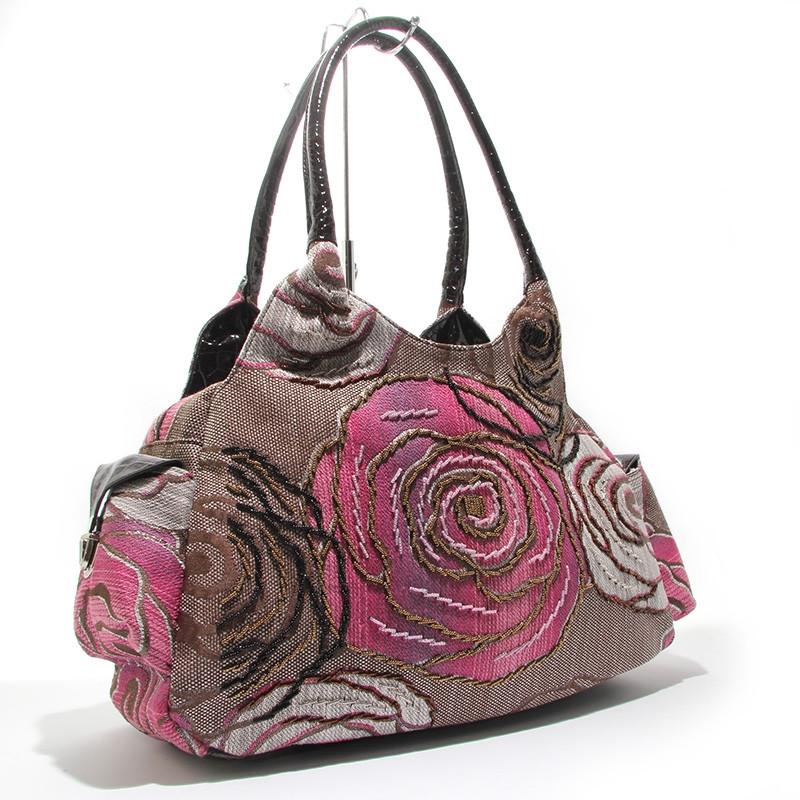 Сумка большая текстильная женская коричневая вышита бисером 6325-8008