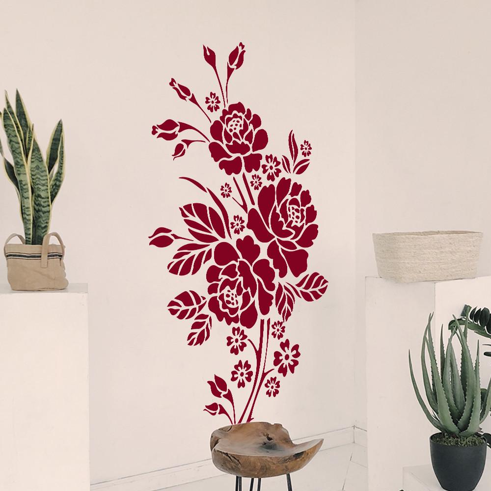 Трафарет цветы розы на стену в гостиную, спальню 165 х 95 см