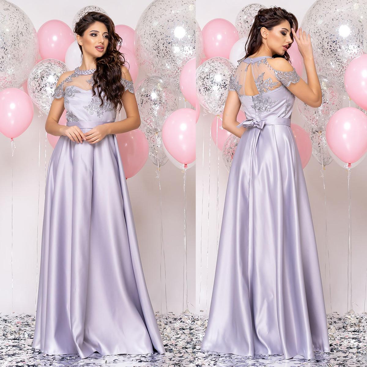 """Атласна сукня випускна, вечірній срібло """"Милагрес"""""""