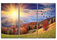 Эффектная синяя модульная картина часы 3 части, для гостиной ReD Солнечная панорама, 90х60 см