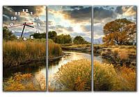 Эффектная серая модульная картина часы 3 части, для гостиной ReD Лесное озеро, 90х60 см