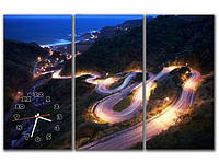 Эффектная синяя модульная картина часы 3 части, для гостиной ReD Извилистая дорога, 90х60 см