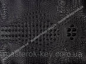 Кожа натуральная с тиснением крокодила 30*49см цвет Черный
