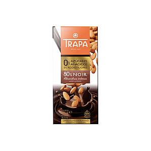 Шоколад 175г без цукру TRAPA INTENSO 0% чорний 80% з мигдалем, 10шт/ящ _ 023250