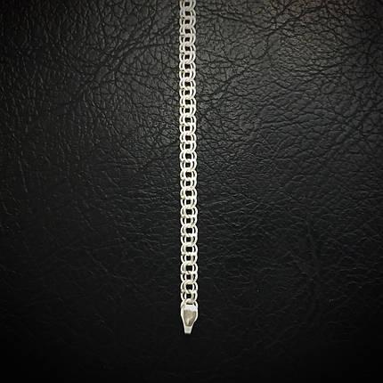 Срібний браслет, 185мм, 5 грам, плетіння Бісмарк, світле срібло, фото 2