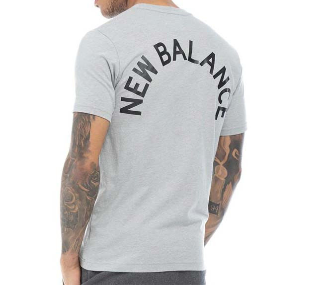 Мужская серая фирменная футболка New Balance grey Back Logo Graphic T-Shirt Black MT91924AGM