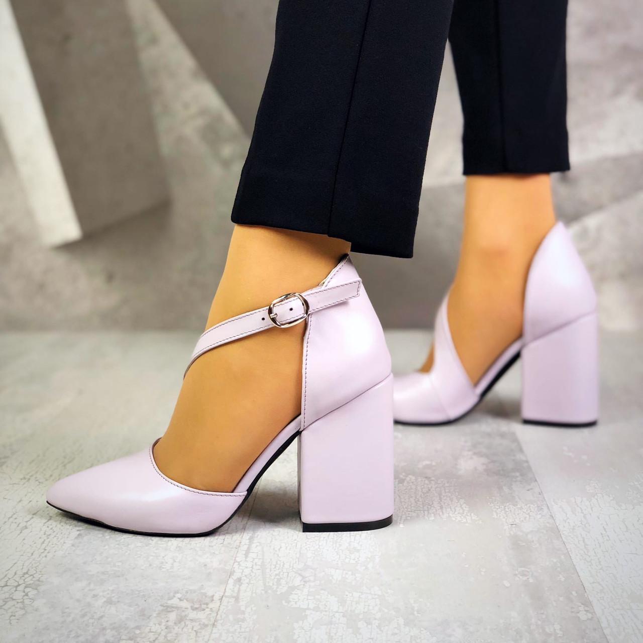 Классические кожаные туфли на каблуке 36-40 р нежно лиловый