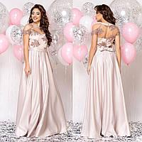 """Бежевое элегантное вечернее платье из атласа """"Милагрес"""", фото 1"""