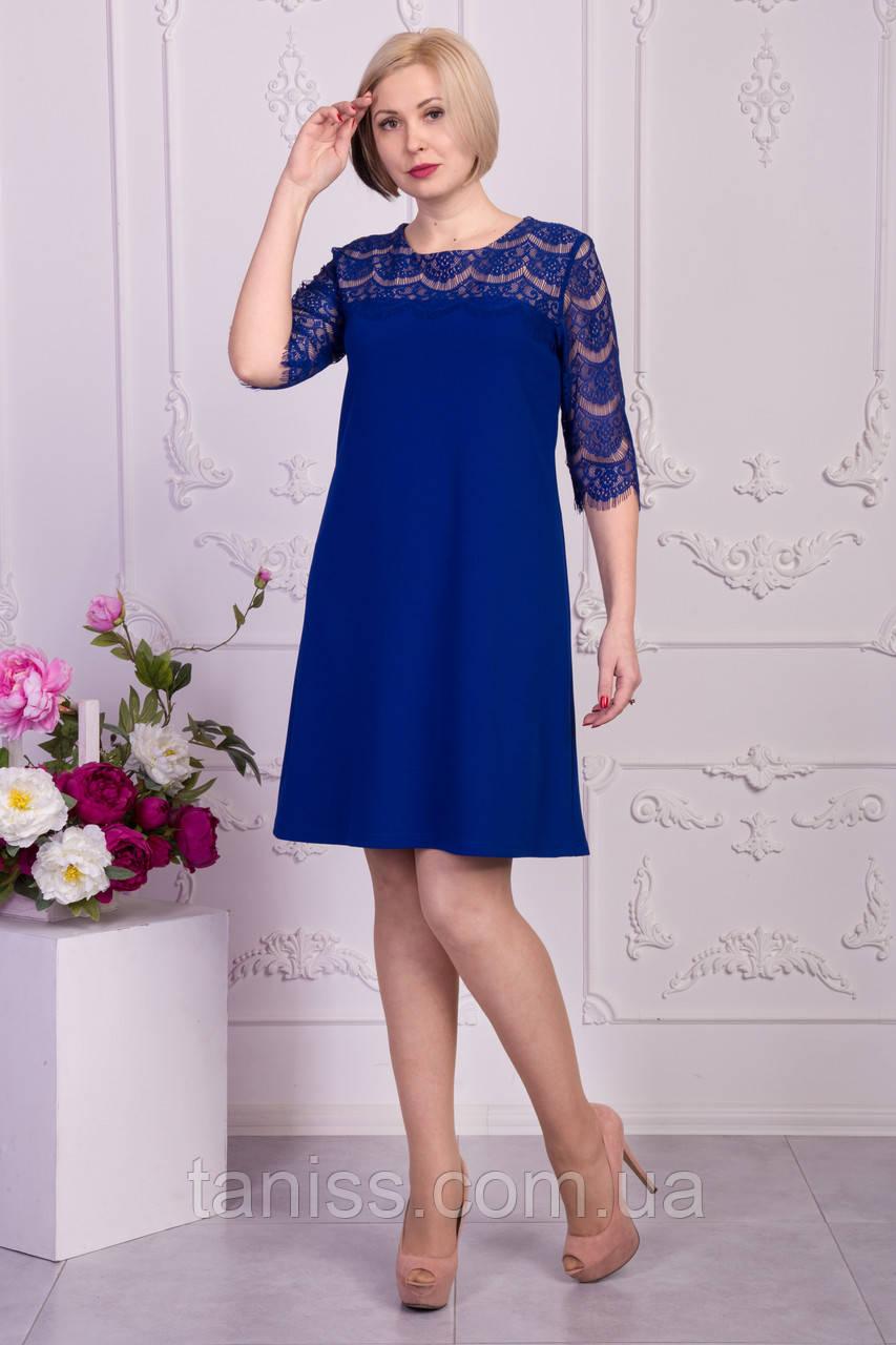 """Женское,весенне,нарядное платье """"Зарина"""" , ткань креп-дайвинг, размеры 50,52,54 (023) электрик, сукня"""