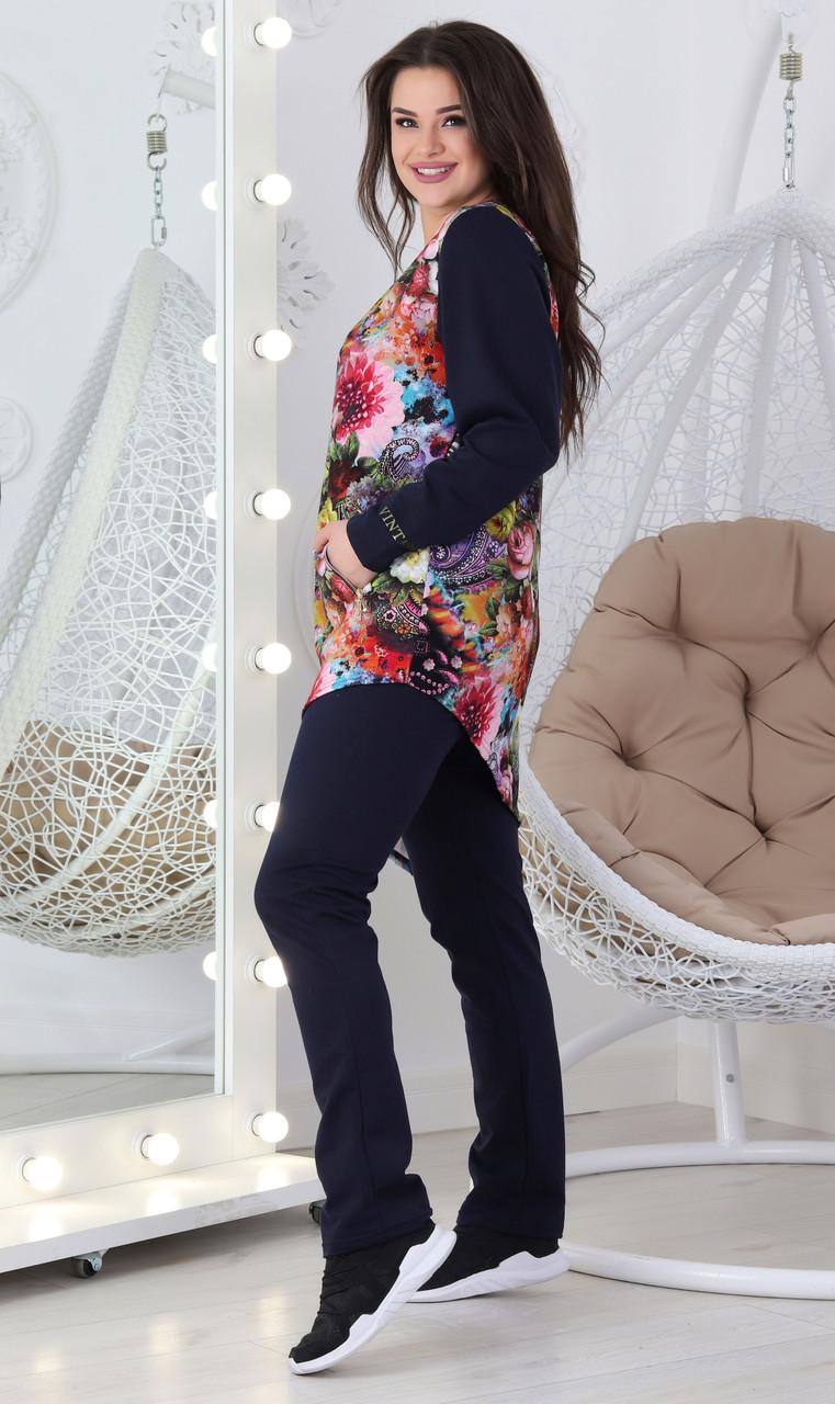 Жіночий повсякденний костюм демісезонний спортивного стилю з трикотажу двунітка з квітковим принтом