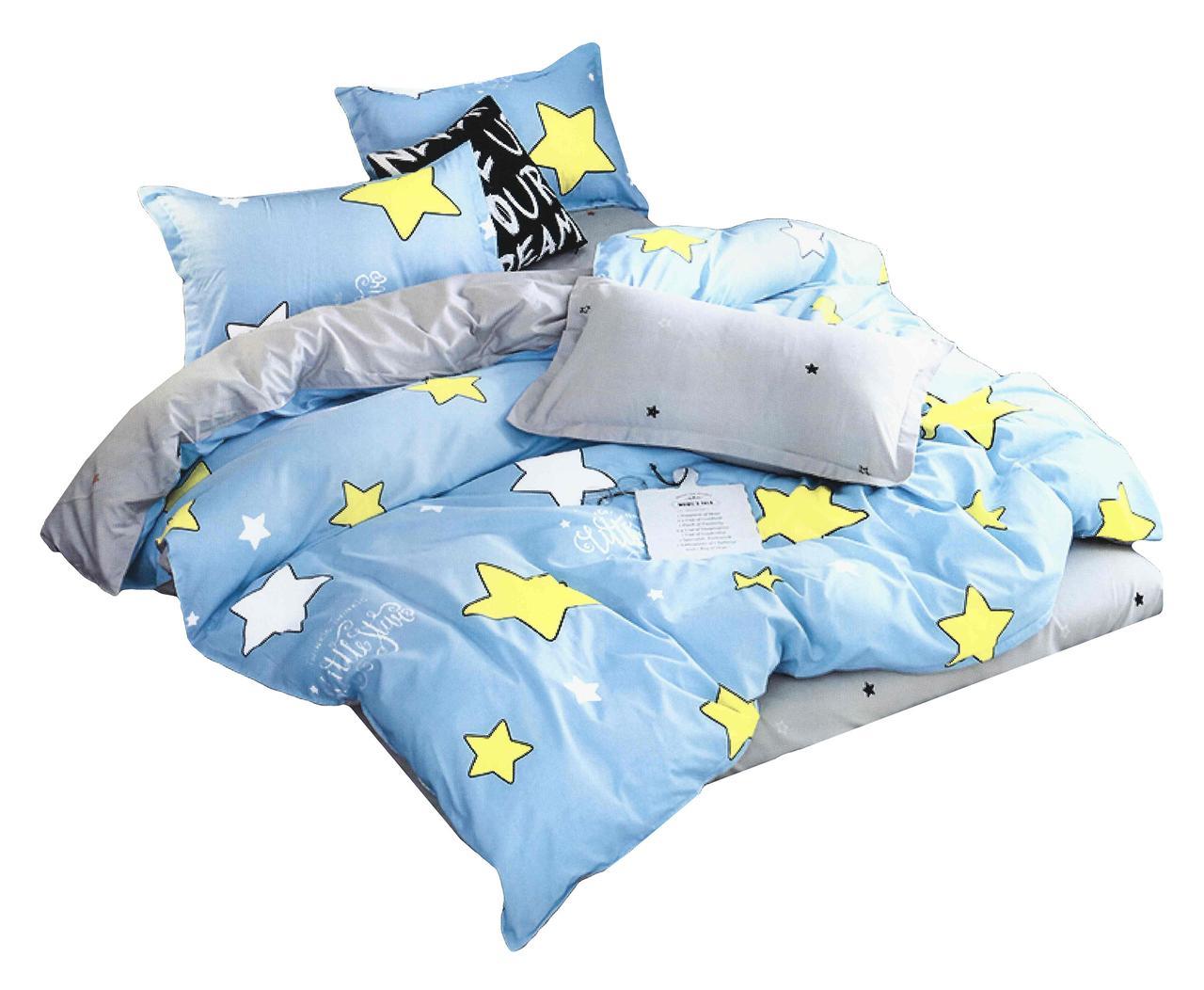Комплект постельного белья Хлопковый Молодежный 072 M&M 5859 Синий, Желтый, Серый