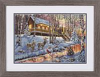 """70-08976 Набор для вышивания крестом """"Winter Cabin//Зимний коттедж"""" DIMENSIONS"""