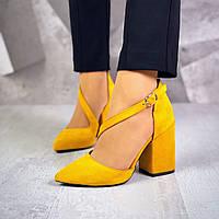Классические замшевые туфли на каблуке 36-40 р горчица, фото 1