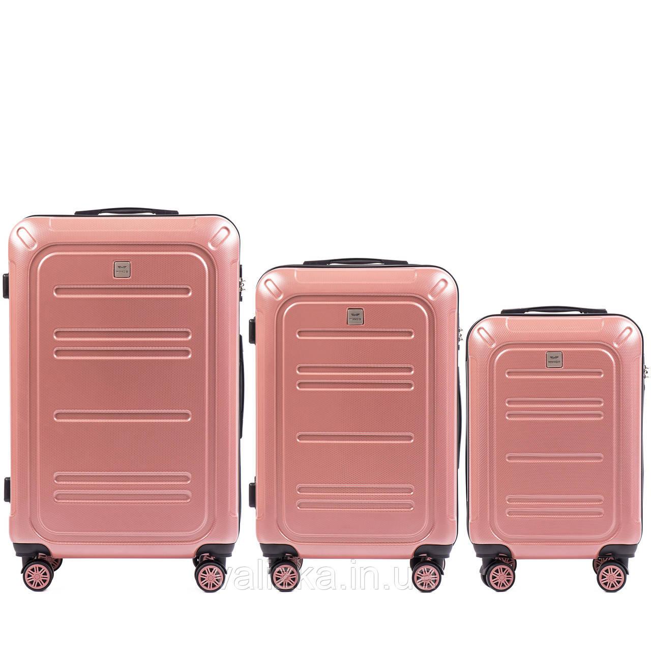 Комплект чемоданов из поликарбоната премиум серии 3 штуки малый, средний и большой розовый