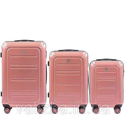 Комплект чемоданов из поликарбоната премиум серии 3 штуки малый, средний и большой розовый, фото 2
