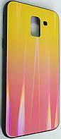 """Силіконовий чохол """"Скляний Shine Gradient"""" Samsung J600/J6 (Sunset red) №5"""