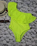 Женский слитный купальник на одно плечо, в расцветках. КУ-3-0220
