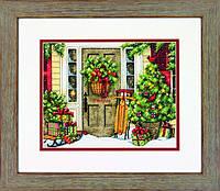 """70-08961 Набор для вышивания крестом """"Home for the Holidays//Праздничный дом"""" DIMENSIONS"""