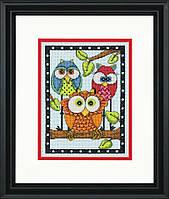 """70-65159 Набор для вышивания крестом """"Трио сов//Owl Trio"""" DIMENSIONS"""