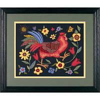 "01543 Набор для вышивания гладью ""Петух на черном//Rooster on Black"" DIMENSIONS"