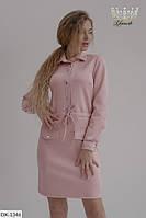 Классическое замшевое красивое платье вверх на кнопках арт 1987