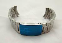 Браслет к часам Omega - стальной, цвет серебро, крепление полумесяц