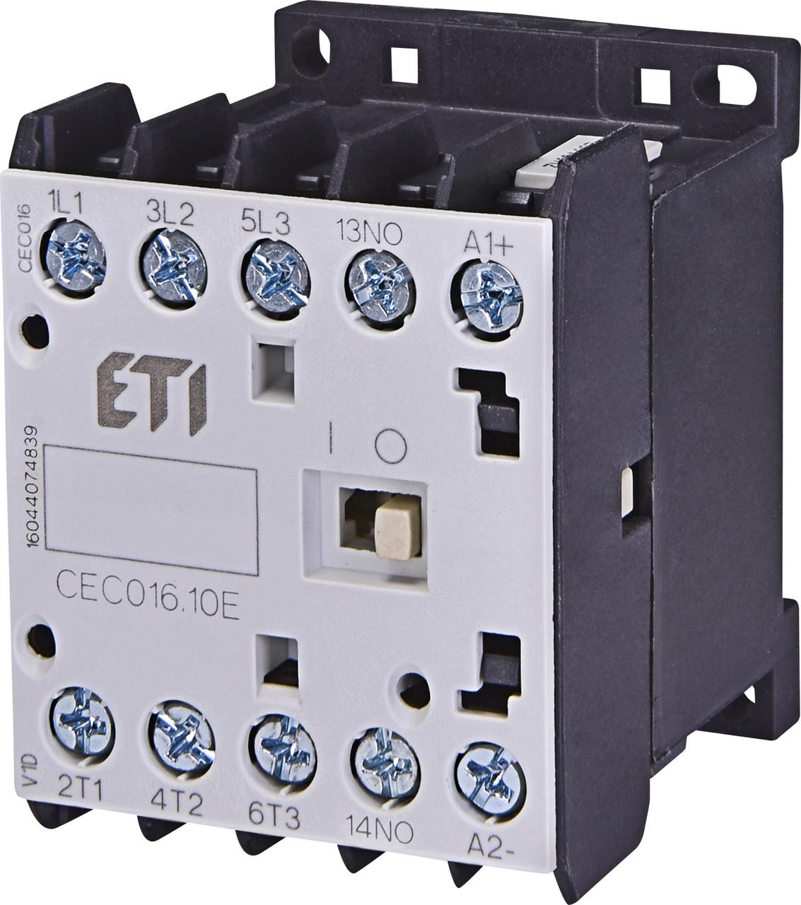 Контактор миниатюрный ETI CEC 16.10 16А 230V AC 3NO+1NO 7,5kW 4641090 (силовой, 22A AC1, 16A AC3)