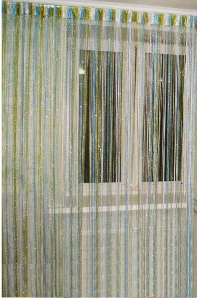 Шторы нити Радуга Дождь с люрексом белый, голубой, оливковый