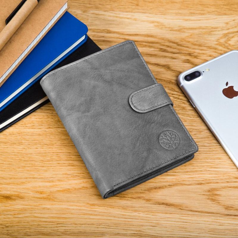 Чоловічий шкіряний гаманець Betlewski з RFID 12,9 х 10 х 2,5 (BPM-GTAN-993) - сірий
